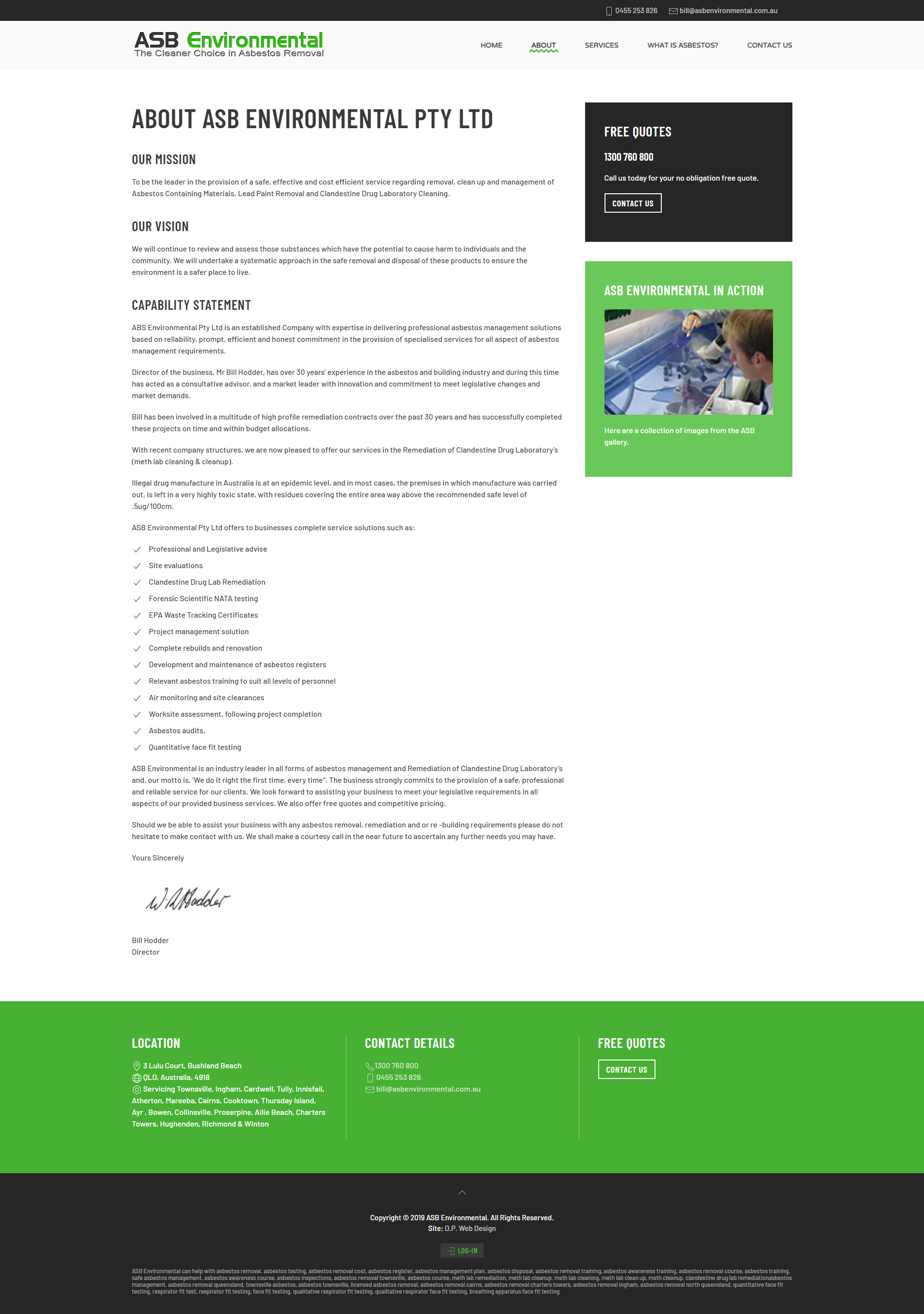 ASB Environmental - D P  Web Design
